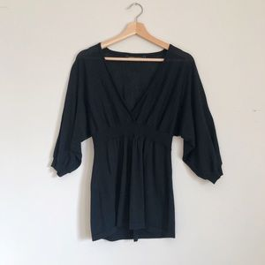 BCBGMAXAZRIA Wool V-Neck Empire Waist Knit Top